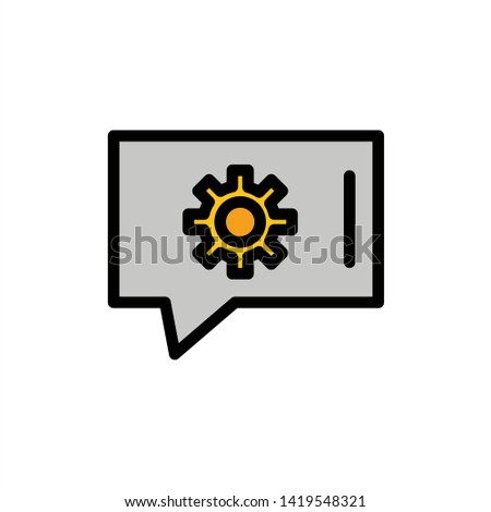 Chat Preferences, Chat Setting, Chat Support  Flat Color Icon. Vector icon banner Template