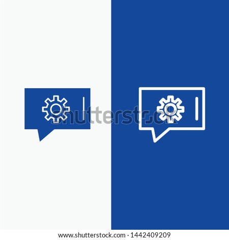 Chat Preferences, Chat Setting, Chat Support Line and Glyph Solid icon Blue banner Line and Glyph Solid icon Blue banner