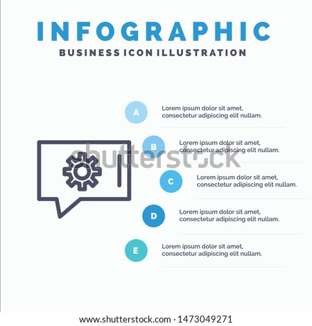 Chat Preferences, Chat Setting, Chat Support Line icon with 5 steps presentation infographics Background