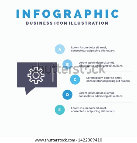 Chat Preferences, Chat Setting, Chat Support Solid Icon Infographics 5 Steps Presentation Background
