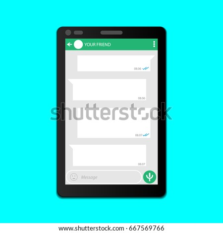 Chat screen display on smartphone design template. Vector illustration.