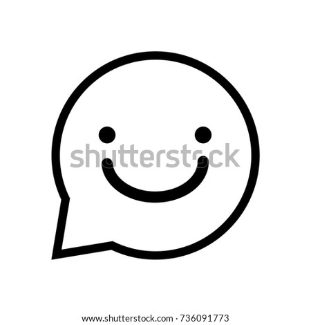 Chat sign smile icon, iconic symbol inside a speech bubble, isolated on white background. Vector Iconic Design.