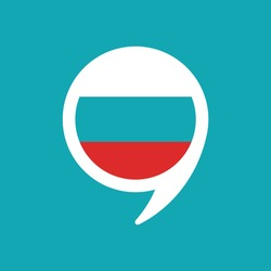 chat speech bubble with russian flag isolated on blue background. Vector flat icon. communication, education picture. Learn, study language icon.