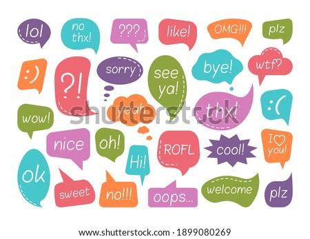 Chat speech bubble with talk phrase for communication set. Question, shout expression and comment message for chatting and social media conversation vector illustration isolated on white background