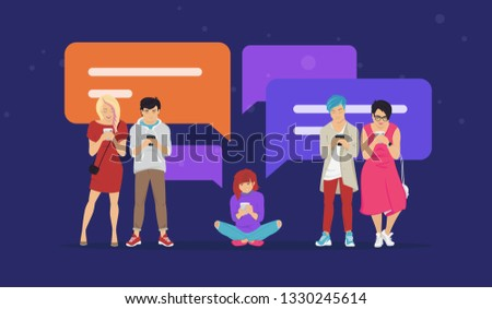 Chat speech bubbles for texting messages, communicating and sharing meme flat vector illustration of young teenagers using mobile smartphone for chatting in messaging app. People standing with bubbles