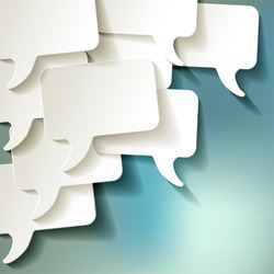 chat speech bubbles vector white on blue bokeh background