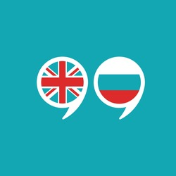 chat speech bubbles with english and russian flags isolated on blue background. Vector flat icon. communication, education picture. Learn, study language icon.