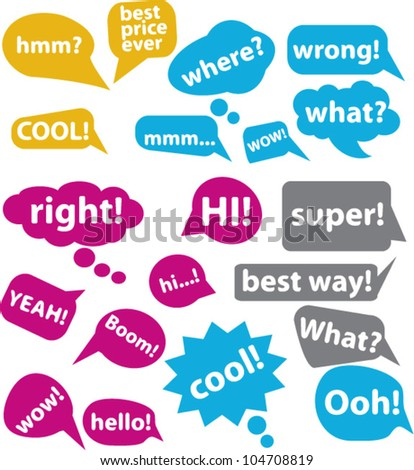chat & speech & idea comics bubbles, icons set, vector