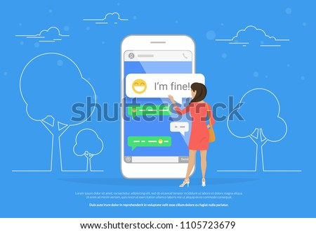 Chat talk concept illustration of young woman standing near big mobile smartphone and sending messages to friends. Flat design of people twting message in speech bubble in chat messenger