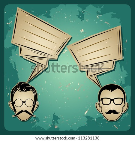 chat two people, Faces with Mustaches and eyeglass, speech   chat icon