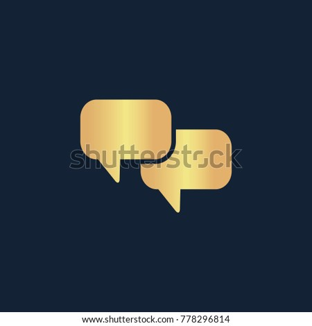 Chat with dialog clouds icon flat. Simple gold pictogram on dark background. Vector illustration symbol
