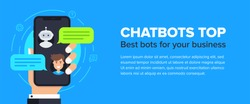 Chatbot banner concept. Horizontal business banner template with illustration of man chatting with chat bot in smartphone. Vector cover header background template in flat style with place for text