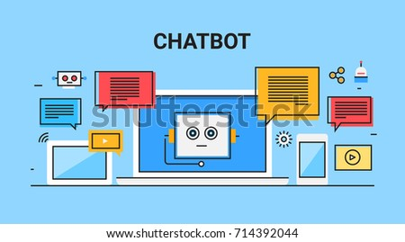 Chatbot, chatting software, application, conversation flat line vector banner illustration with icons isolated on blue background