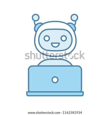 Stock Photo Chatbot color icon. Chat bot. Artificial conversational entity. Virtual assistant. Digital support service. Artificial intelligence. Isolated vector illustration