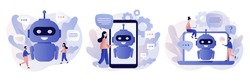 Chatbot concept. AI robot assistant, online customer support. Tiny people chatting with chatbot application. Modern flat cartoon style. Vector illustration on white background