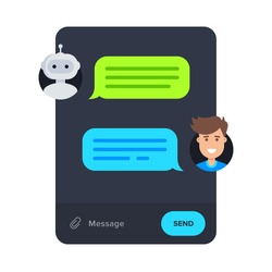 Chatbot concept. Cartoon messenger design. Man chatting with chat bot in application. Vector illustration in flat style