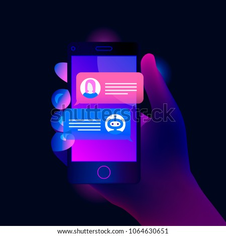 Chatbot concept. Hand holds a smartphone on the screen of which woman chatting with chat bot. Trendy color style. Vector illustration.