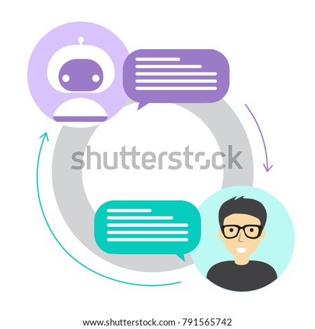 Chatbot concept. Man chatting with chat bot