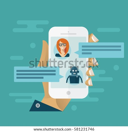 Chatbot concept. Man chatting with chat bot on smartphone. Flat design style modern vector minimalistic illustration concept for business, site, banners, web. Blue background color