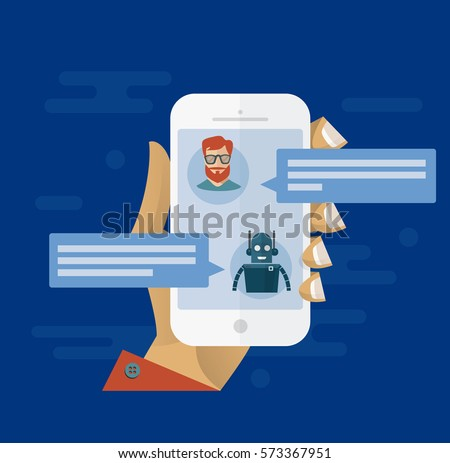 Chatbot concept. Man chatting with chat bot on smartphone. Flat modern vector illustration. White smartphone in hand with user interface of messenger
