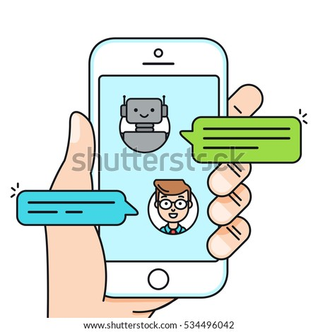 chatbot concept man chatting