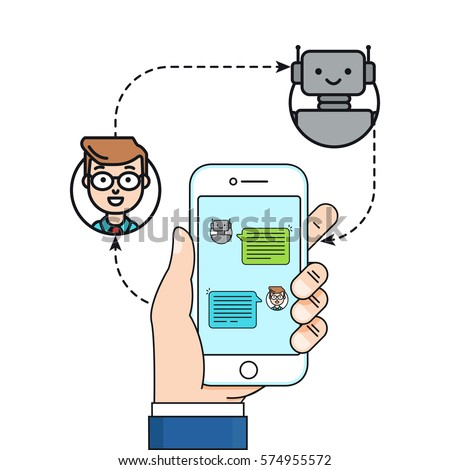 Chatbot concept. Man chatting with chat bot on smartphone. Vector Linear Flat illustration, Male hand holding phone. Mobile connection, communication concept