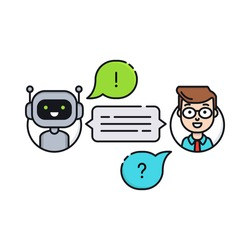 Chatbot concept. Man chatting with chat bot. User ask robot the question and get an answer. Conversation with chat bot. Vector illustration in flat line style