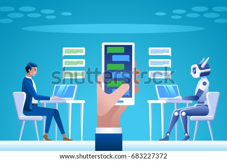Chatbot concept. Man chatting with chat bot. Vector illustration concept for business, site, banners, web.
