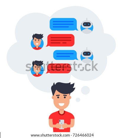 Chatbot concept. Man imagines how he chatting with bot. Young man talk with chat bot on smartphone. Conversation with robot in messenger Flat style vector illustration