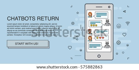 Chatbot concept. People chatting with chat bot on smartphone. Flat line design style modern vector minimalistic illustration concept for business, site, banners, web. Light blue background color
