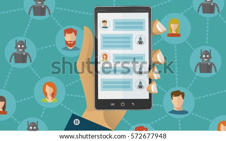 Chatbot concept. People chatting with chat bot on smartphone. Flat modern vector illustration. Black smartphone in hand. Social network between man, woman and robots