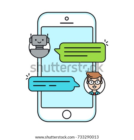 Chatbot flat line icon concept. Man chatting with chat bot on smartphone. User talk with bot in messenger. Vector illustration isolated on white background