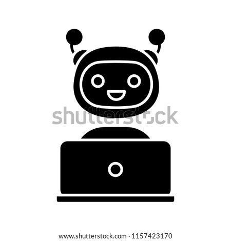 Stock Photo Chatbot glyph icon. Silhouette symbol. Chat bot. Artificial conversational entity. Virtual assistant. Digital support service. Artificial intelligence. Negative space. Vector isolated illustration