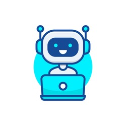 Chatbot icon. Cute robot working behind laptop. Modern bot sign design. Smiling customer service robot. Flat line style vector illustration isolated on white background