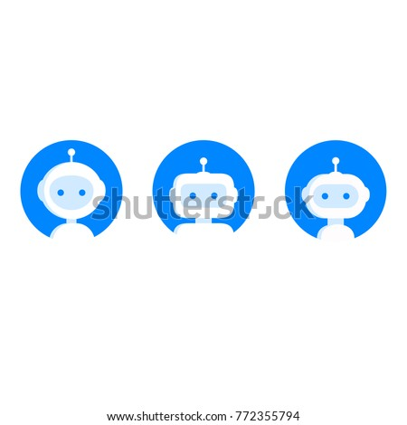 Chatbot icon set. Robot icon. Bot sign design. Chatbot symbol concept. Voice support service bot. Online support robot. Modern blue flat style cartoon character illustration. Isolated on white