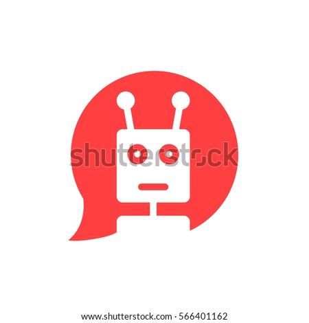 chatbot in red speech bubble. concept of ui, media, soft, dialogue script, popup, spam, profile, software, communication, contact. flat style trend modern graphic logotype design on white background