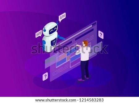 Chatbot isometric color vector illustration. Customer service infographic. Client use chat bot. Website assistance. Teacherbot. Future marketing. Technical support. Webpage, mobile app 3d concept