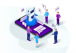 Chatbot isometric vector illustration. Chat bot receiving requests. Future marketing. Teacherbot. AI and business 3d concept. Website assistance. Customer service infographic. Mobile app design