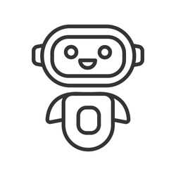 Chatbot line black icon. Cute smiling robot. Personal voice assistance. Smart speaker artificial intelligence. Sign for web page, mobile app, button, logo. Vector isolated button. Editable stroke.