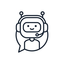 Chatbot Line Icon concept. Cute bot working in headphones inside speech bubble. Smiling customer service robot. Vector element isolated on white background