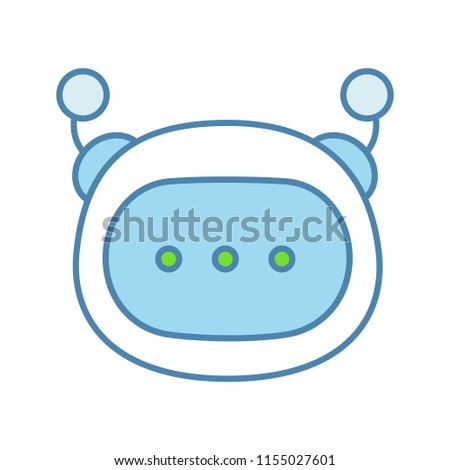 Stock Photo Chatbot message color icon. Chat bot.  Artificial conversational entity. Virtual assistant. Digital support service. Artificial intelligence. Isolated vector illustration