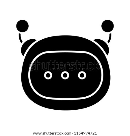 Stock Photo Chatbot message glyph icon. Silhouette symbol. Negative space. Chat bot. Artificial conversational entity. Digital support service. Artificial intelligence. Vector isolated illustration