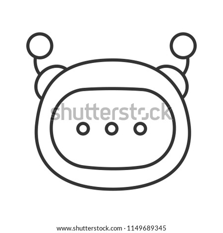 Stock Photo Chatbot message linear icon. Thin line illustration. Chat bot. Artificial conversational entity. Digital support service. Contour symbol. Vector isolated outline drawing. Editable stroke