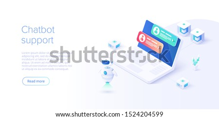 Chatbot or artificial intelligence network concept in isometric vector illustration. Neuronet or ai technology background with robot head and connections of neurons. Web banner layout template.
