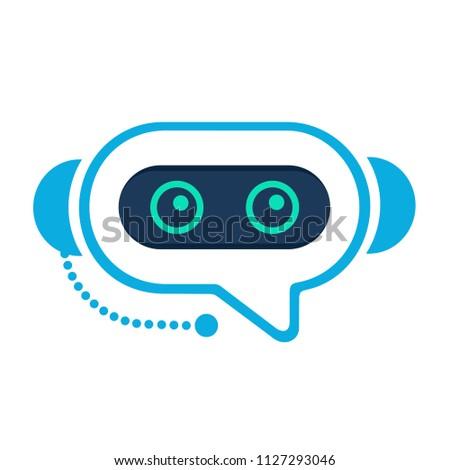 Chatbot. Robo advisor (robo adviser). Chat bot robot like assistant. Concept of  digital advisor avatar to help the customer. Gravatar. Robotic operator like chatterbox. Flat style.