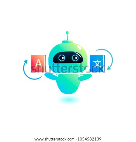 Chatbot Translator. Online translates your messages into another language. Bot holds book dictionaries. Vector cartoon illustration