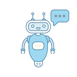 Chatbot typing answer color icon. Talkbot with three dots in speech bubble. Modern robot. Processing request virtual assistant. Isolated vector illustration