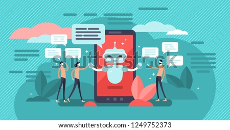 Chatbot vector illustration. Mini persons talk with digital robot concept. Artificial intelligence friendship or bonding with human. Smartphone assistant service. Social live speech substitute with AI