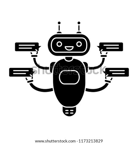 Chatbot with four speech bubbles glyph icon. Silhouette symbol. Talkbot chatting to several users. Customer support service. Modern robot. Negative space. Vector isolated illustration