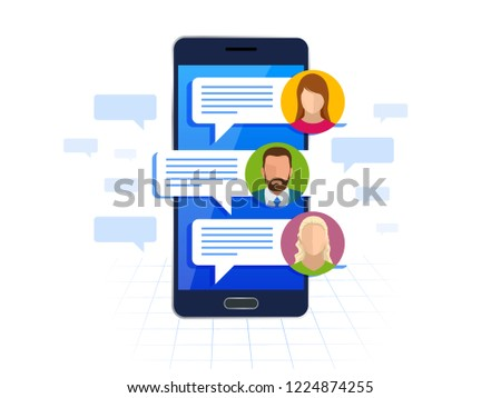 Chating and messaging on smartphone concept. Sms messages and Speech bubbles. Short message service bubbles. Flat vector illustration